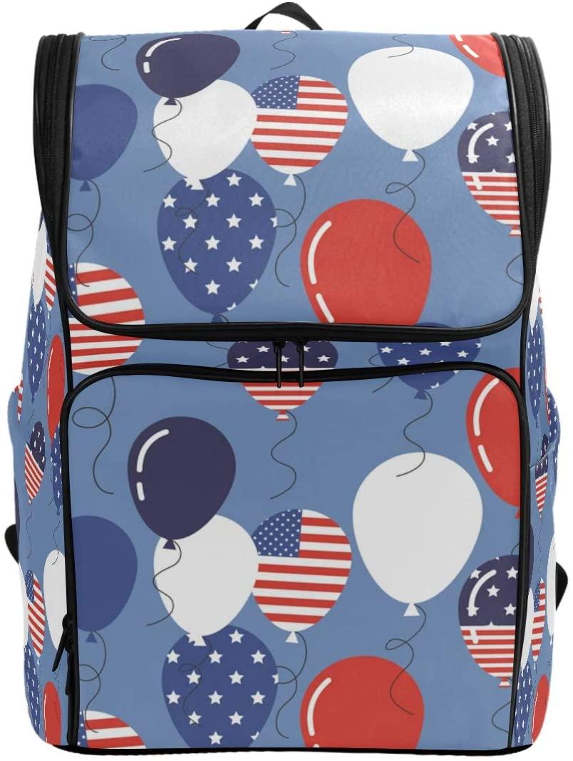 School Backpack American Flag Balloons College Book Bag Travel Hiking Rucksack Computer Bag for Women & Men
