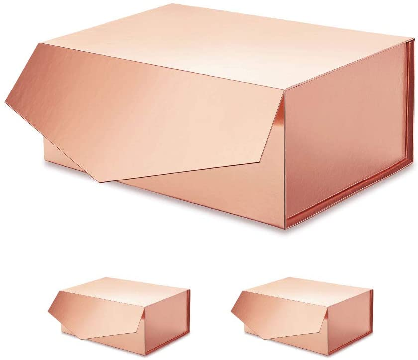 ROSEGLD 3 Gift Boxes 9.5x7x4 Inches, Gift Boxes with Lids Bridesmaid Gift Boxes, Glossy Gift Boxes, Rectangle Collapsible Boxes with Magnetic Lids for Gift Packaging Rose Gold