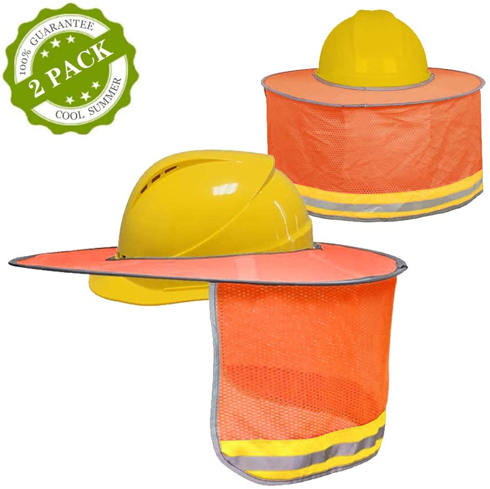 BOENFU Hard Hat Sun Shade 2 Pack, Full Brim Hard Hat Neck Shade Cowboy Hard Hat with Secure-Fit Fasteners & Built In Sweat Towel for Construction - Orange (Hard Hat Not Included)