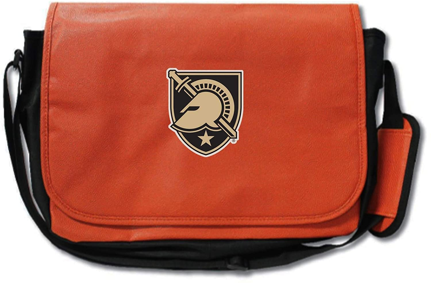 Army Black Knights Basketball Leather Laptop Computer Case Messenger Shoulder Bag - made from actual basketball materials - Orange