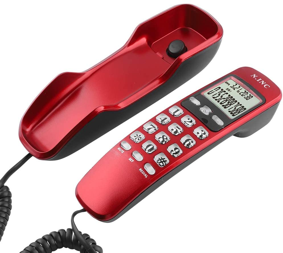 ASHATA Mini Wall Phone,DTMF/FSK Wall Corded Telephone with Incoming Caller ID LCD Display,Home Office Hotel Landline Phone with 38 Incoming Memories/Call Back Function(Red)