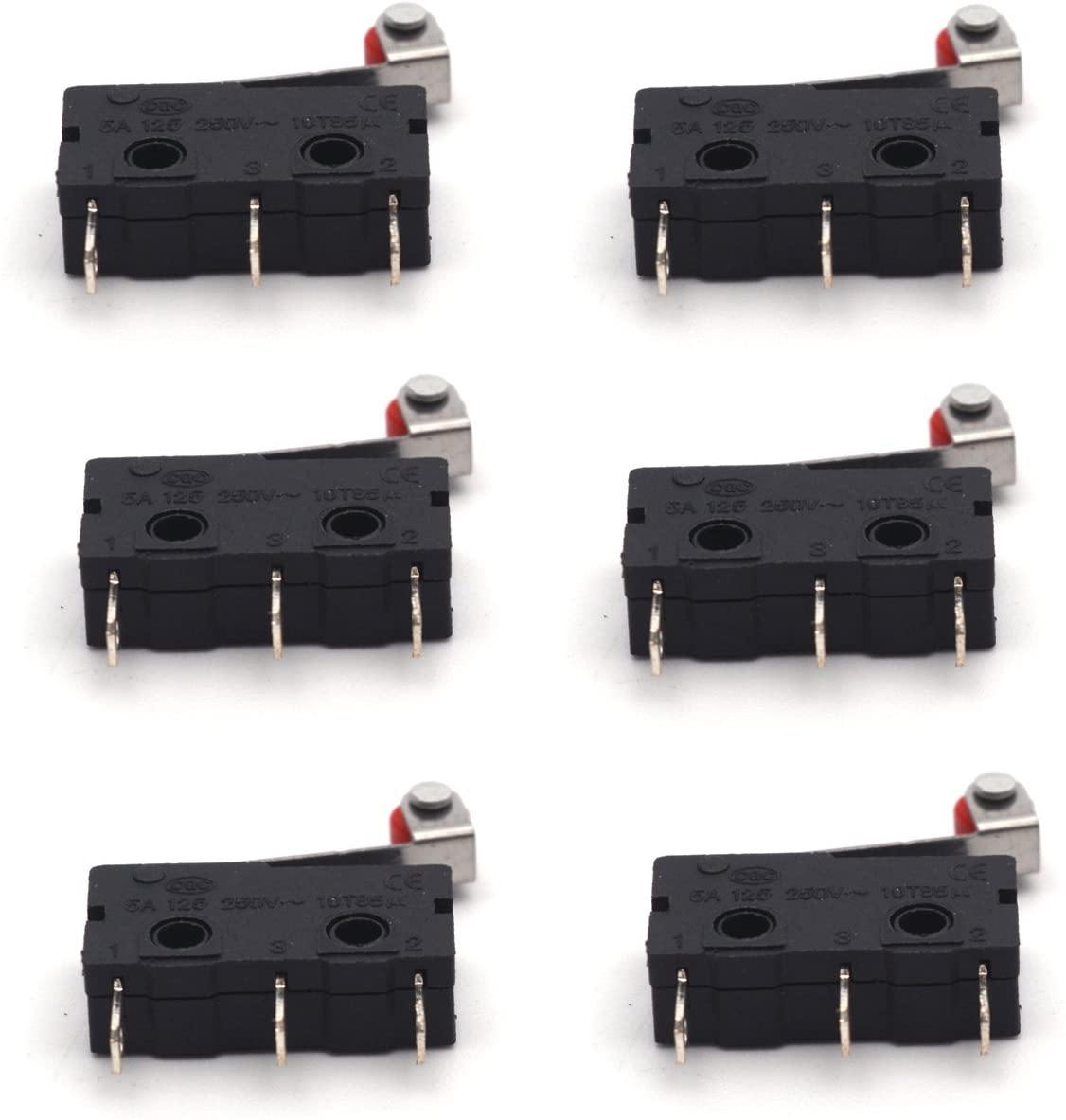 Antrader SS-5GL2 SPDT Long Hinge Roller 1NO 1NC Momentary Micro Limit Mini Switch 3 Pins Pack of 6