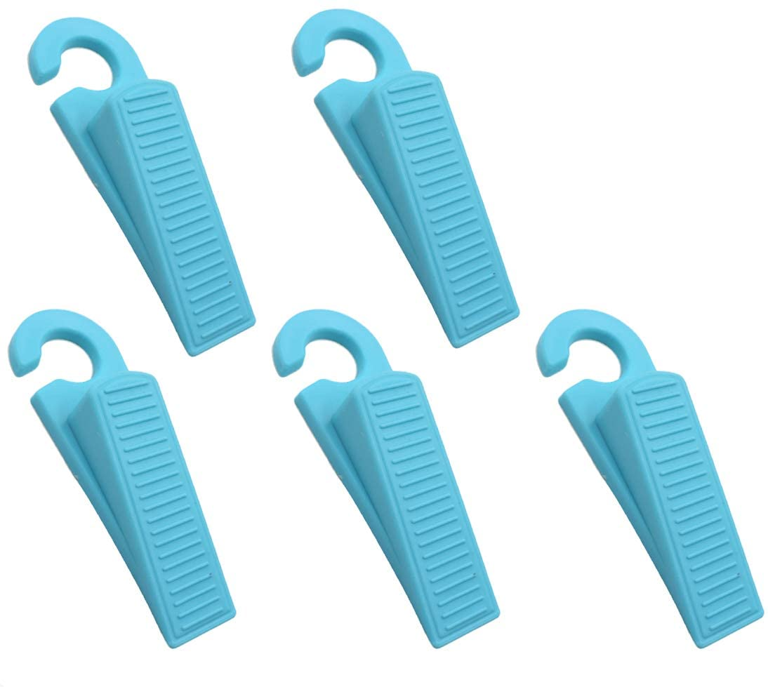 Yootop 5 Pcs Non Scratching Rubber Wedge Door Stopper for Kids or Pets Preventing from Locking-out Blue