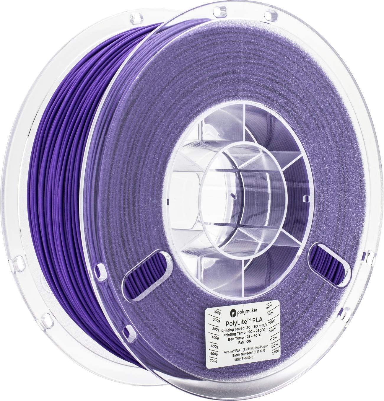 Polymaker PolyLite PLA 3D Printer Filament, 3D Printing Filament, 1.75mm pla - 1Kg Spool (2.2 lbs) Purple, fit Most FDM Printer…