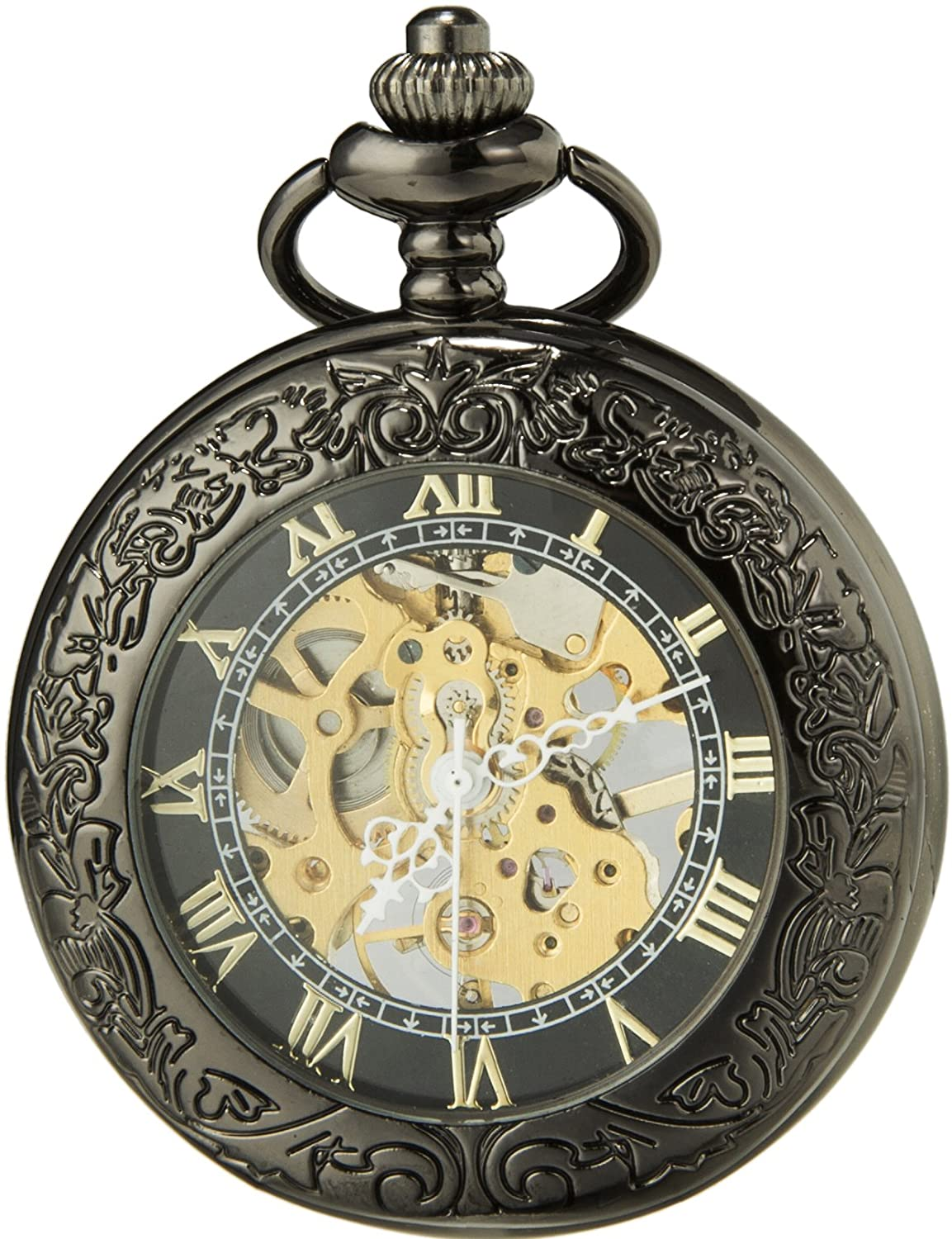 SEWOR Mens Dress Gentleman Vintage Magnifier Skeleton Pocket Watch with Chain, Mechanical Hand Wind with Great Box