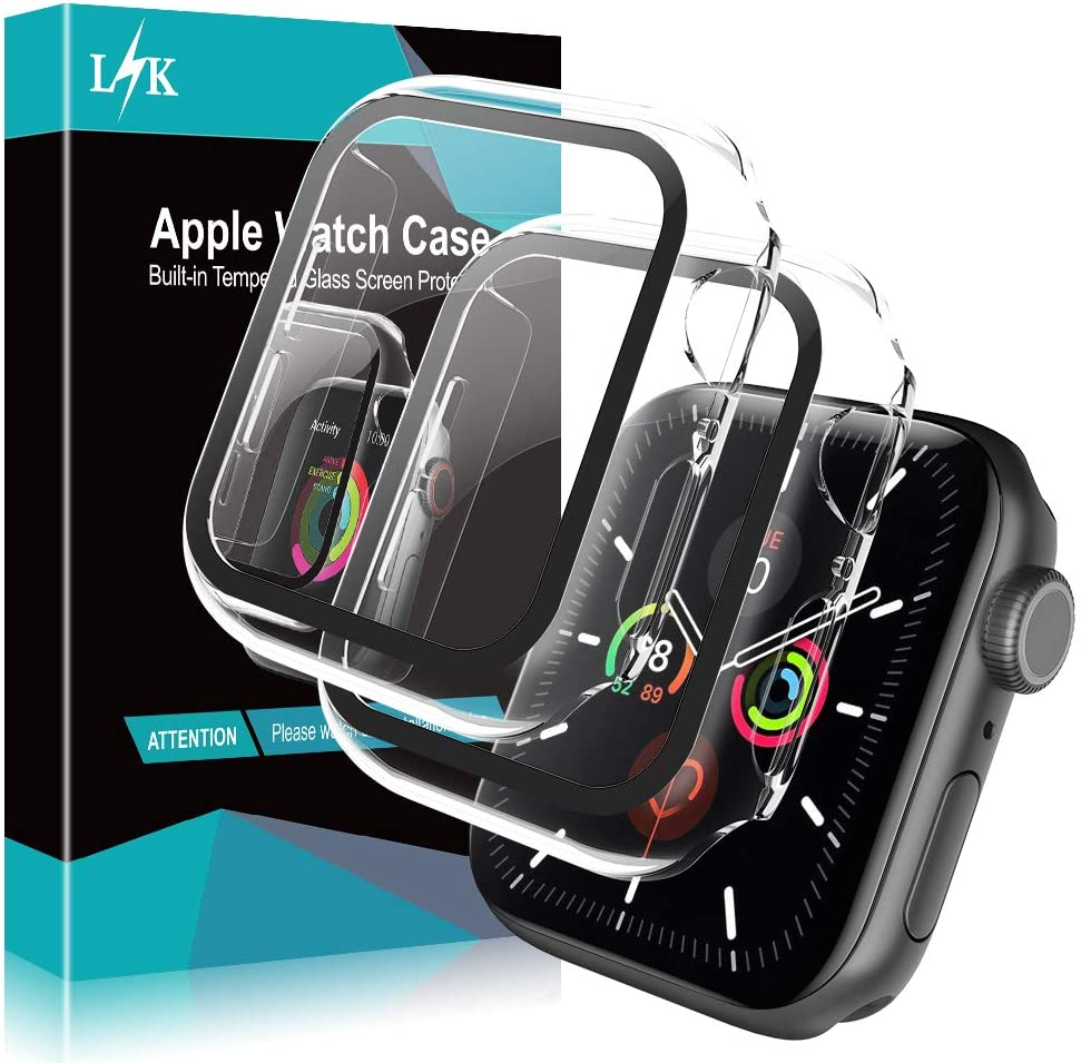L K [2 Pack] Case for Apple Watch 44mm Series 4/5 with Buit-in Tempered Glass Screen Protector All-Around Hard PC Protective High Definition Clear Cover for iWatch 44mm (Clear)