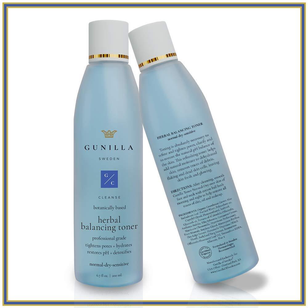 GUNILLA Herbal Toner 6.7oz Spa-Grade | 10-Herbal Extracts, Cleanse, Hydrate, Detox, Balance pH, Skin Prep | 65% Organic Healing Aloe, Alcohol & Oil-Free | Norm, Dry, Sensitive, for Men/Women