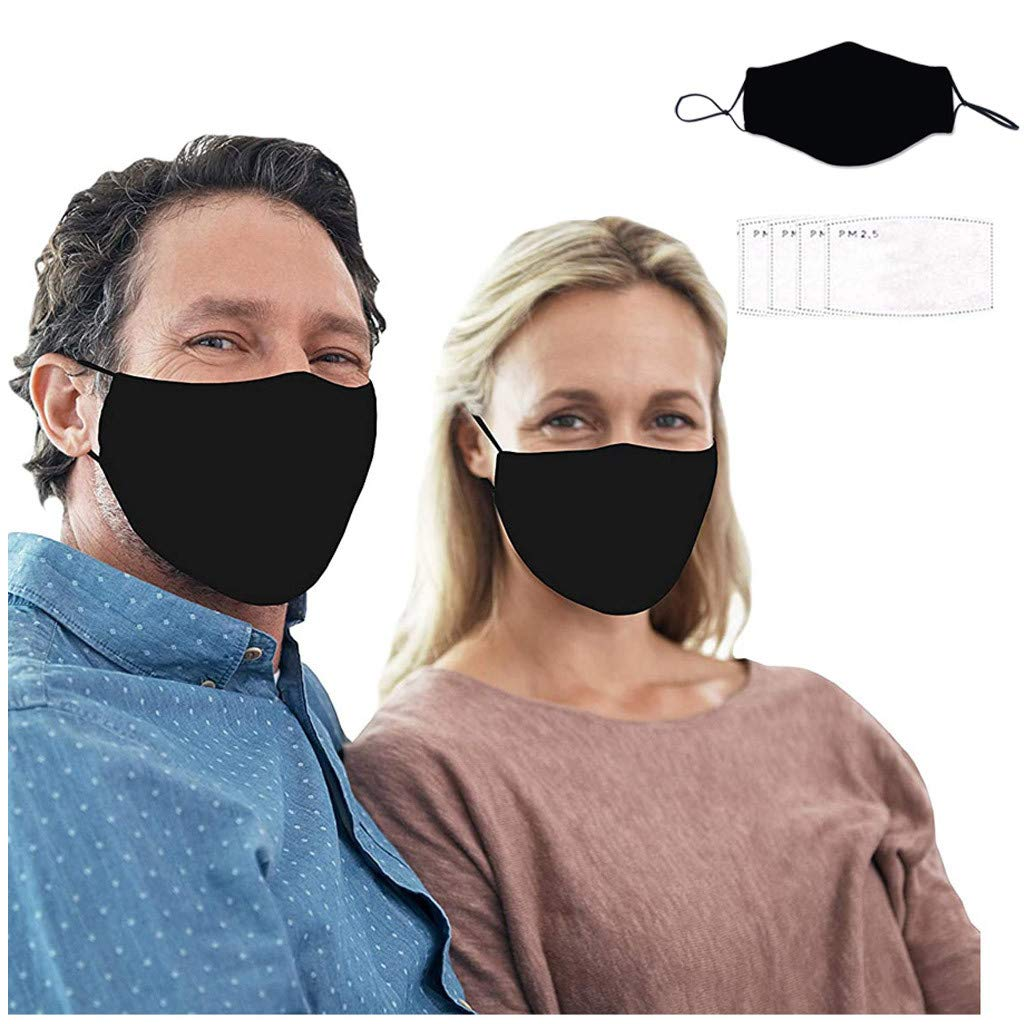 Teacher Face Cotton Bandana_Mask_Covering, Black Reusable&Washable Ear Loop Face Madks for Women Men