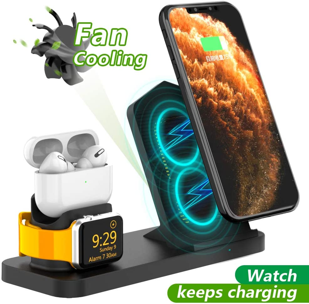 AOJUE 3 in 1 Wireless Charging Stand for iwatch Series 5/4/3/2/1,airpods,Qi Fast Charging Station for iPhone 11/11 Pro Max/XR/XS Max/XS/X/8/8P/Samsung