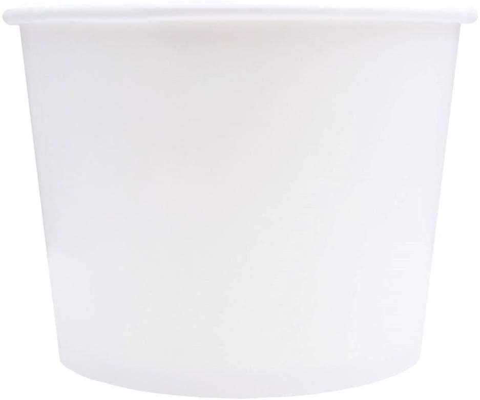 Frozen Dessert Supplies 16 oz Paper Ice Cream Cups Bowls (100, Solid White)