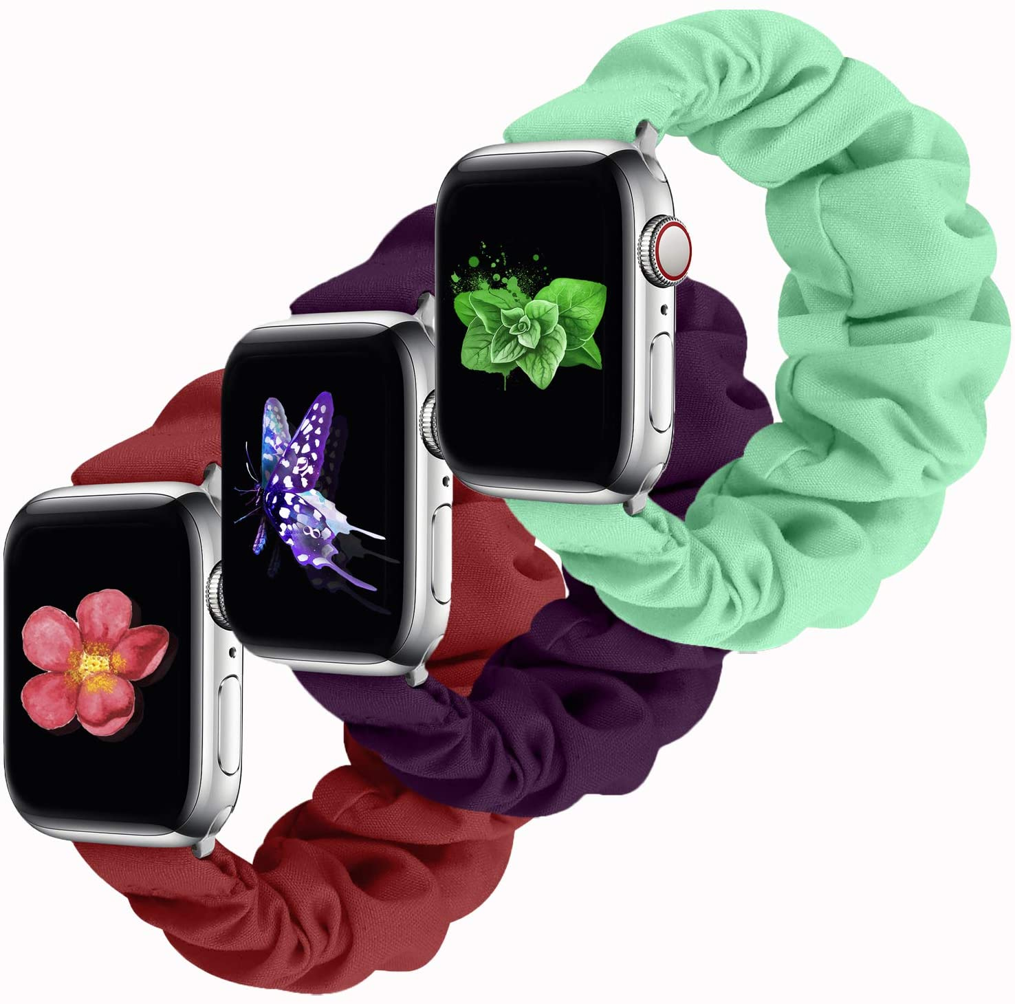 Scrunchie Elastic Watch Band Apple Watch Series 5 Band Compatible Apple Watch Band 38mm 40mm 42mm 44mm, Cute Elastic Scrunchy for Apple Watch Series 5 4 3 2 1(Black-38mm/40mm S)