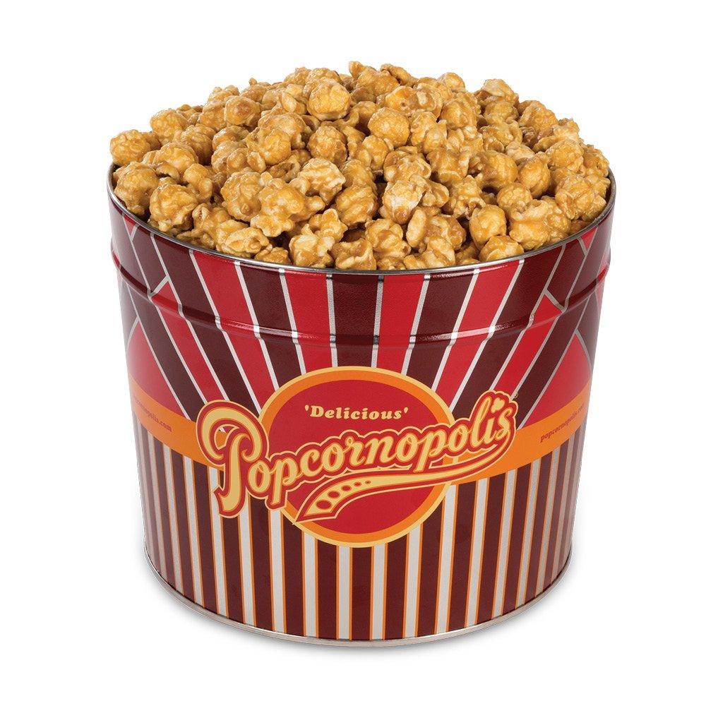 Popcornopolis Gourmet Popcorn 1.26 Gallon Tin with Caramel Popcorn