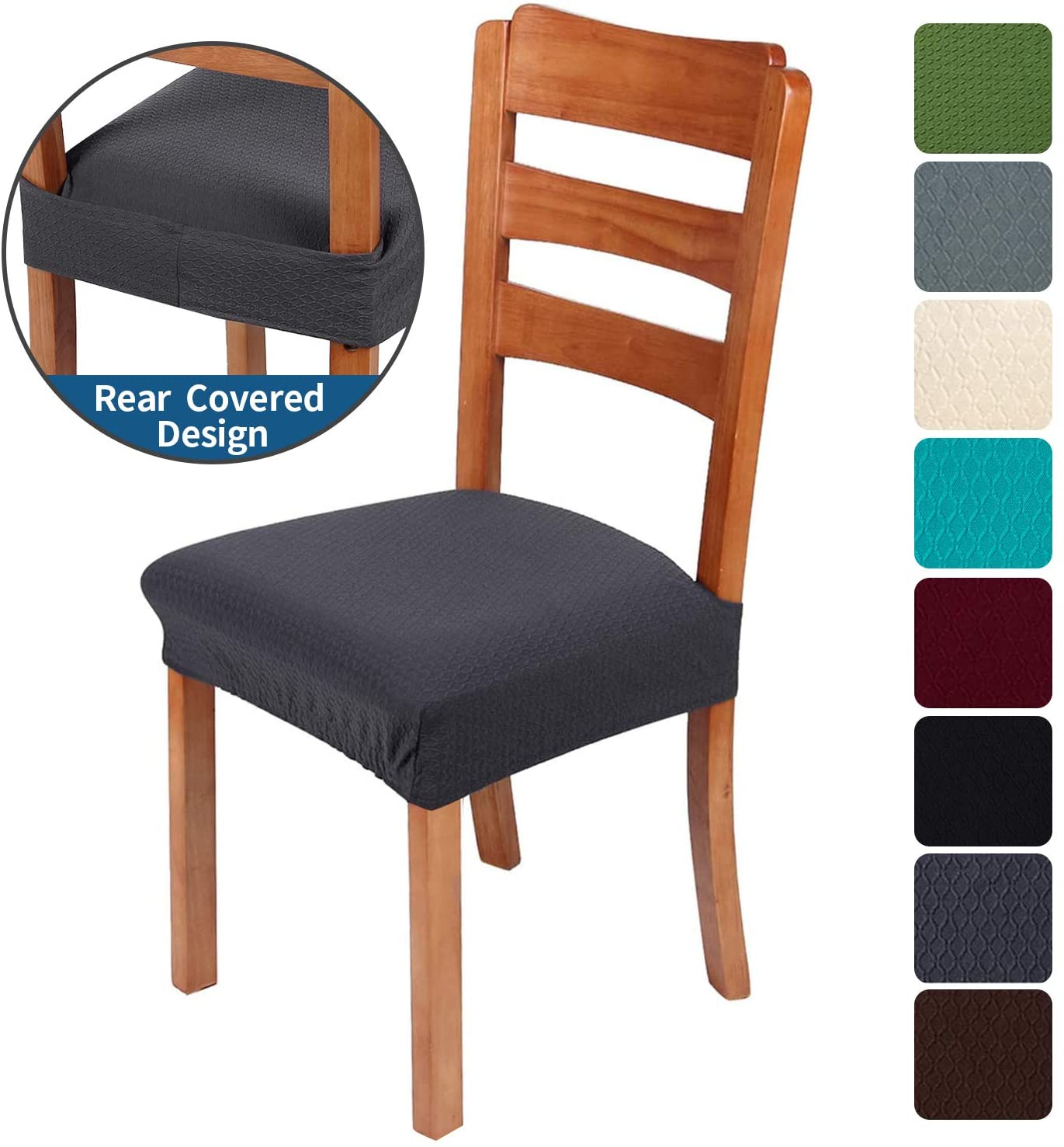 smiry Stretch Jacquard Chair Seat Covers for Dining Room, Removable Washable Anti-Dust Chair Seat Protector Slipcovers - Set of 2, Dark Grey