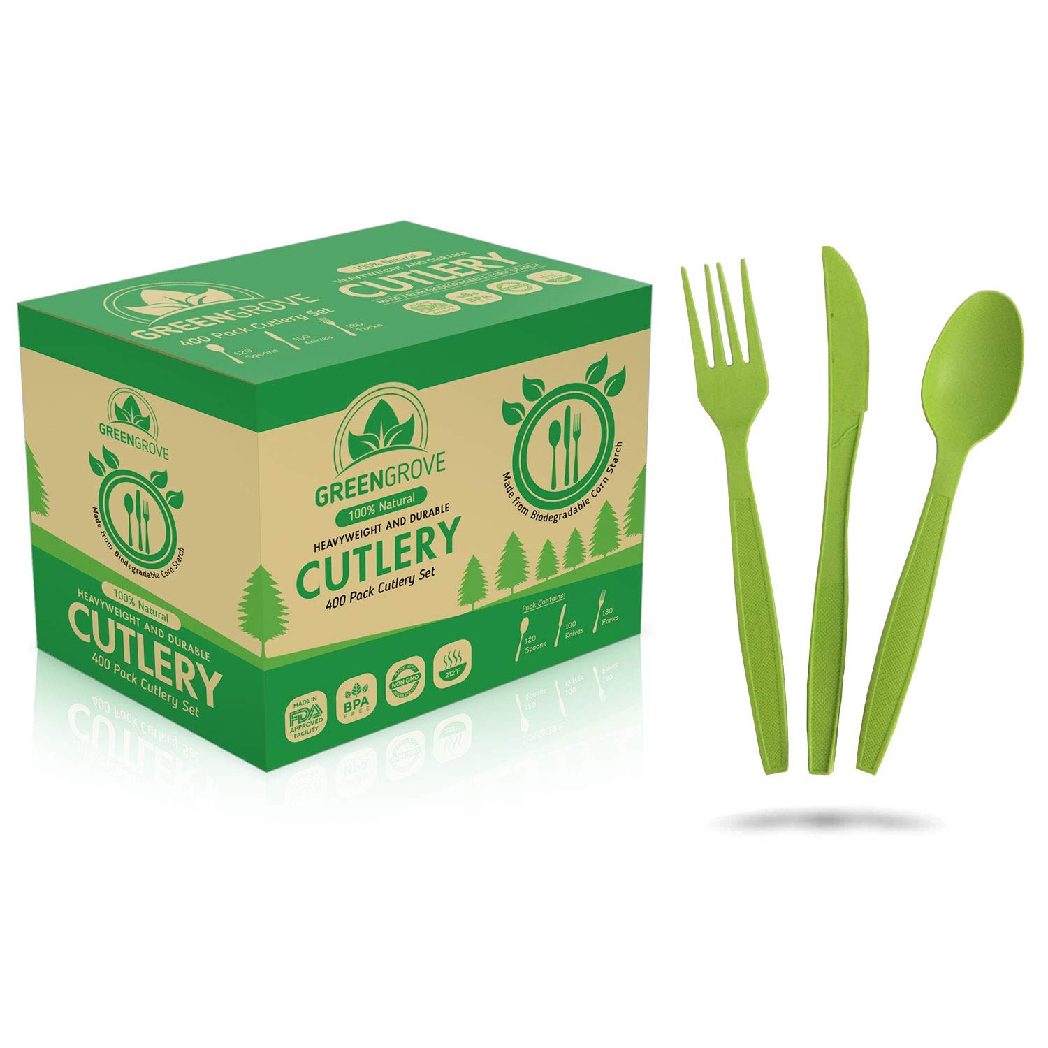 100% Compostable Forks, Spoons and Knives Biodegradable Cutlery Combo Set- 400 Large Ecofriendly Silverware Utensils with Tray