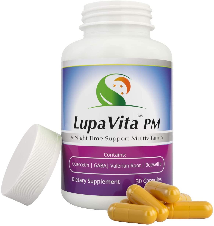 LupaVita PM by Lupavita Vitamins - Lupus Vitamins LupaVita - Lupus Supplements - Vita Sleep PM Vitamins - Ginger Boswellia plus Magnesium with Vitamin B6 - Professional Health Products