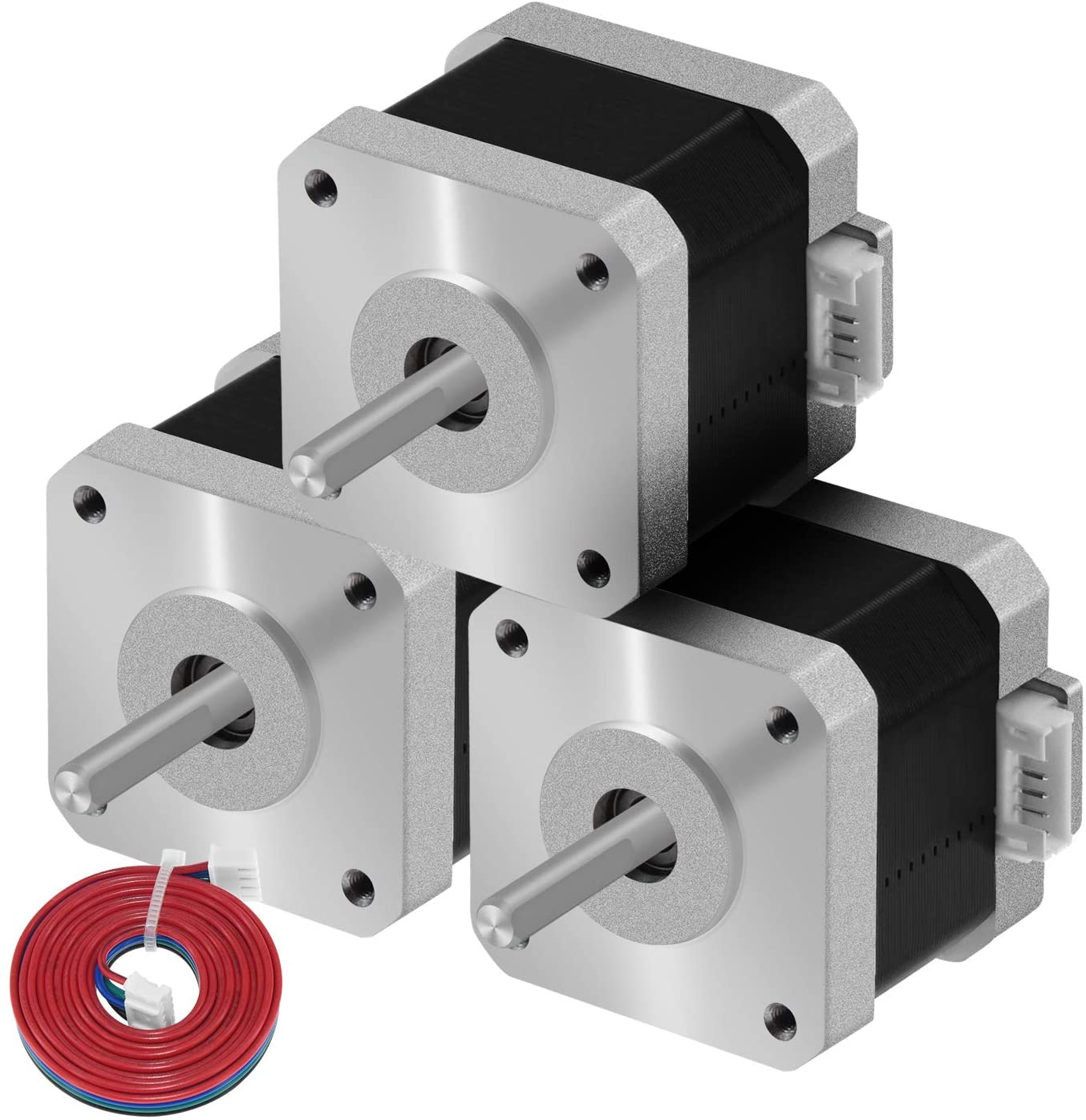 Usongshine Nema 17 Stepper Motor Bipolar 38mm Body 42N.cm (60oz.in) 1.5A 4-Lead with 1m Cable and Connector for 3D Printer/Extruder/DIY CNC(17HS4401 Pack of 3)