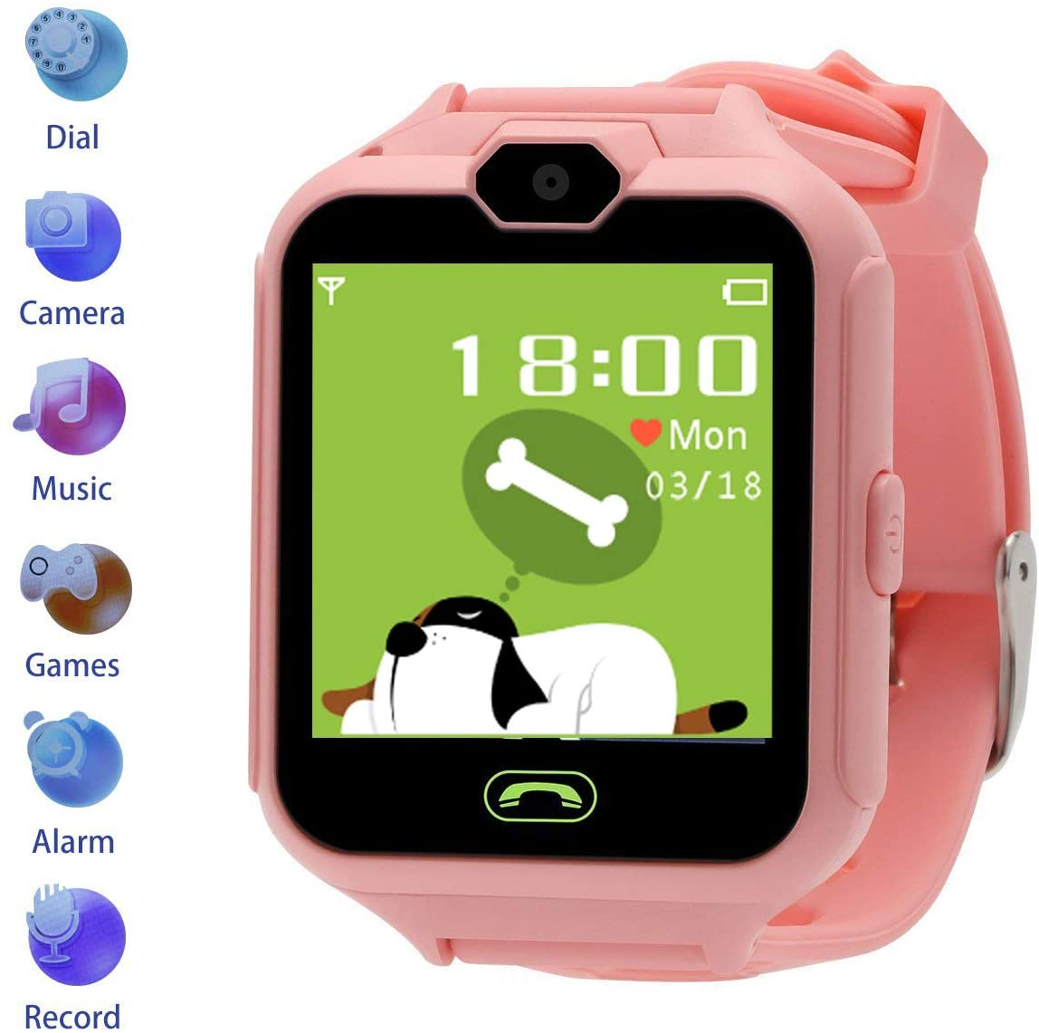 Winnes Kids Smart Watch, Music & Games Smart Watch Phone - 1. 54 inch IPS HD Colored Touch Screen - 7 Games, 2-Way Call / Call Alarm SOS Smart Watch for Boy and Girl 3-12 Years (Pink)