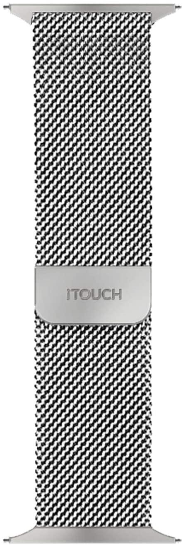 iTouch Sport Round Smartwatch Interchangeable Metal Mesh Strap (Silver)