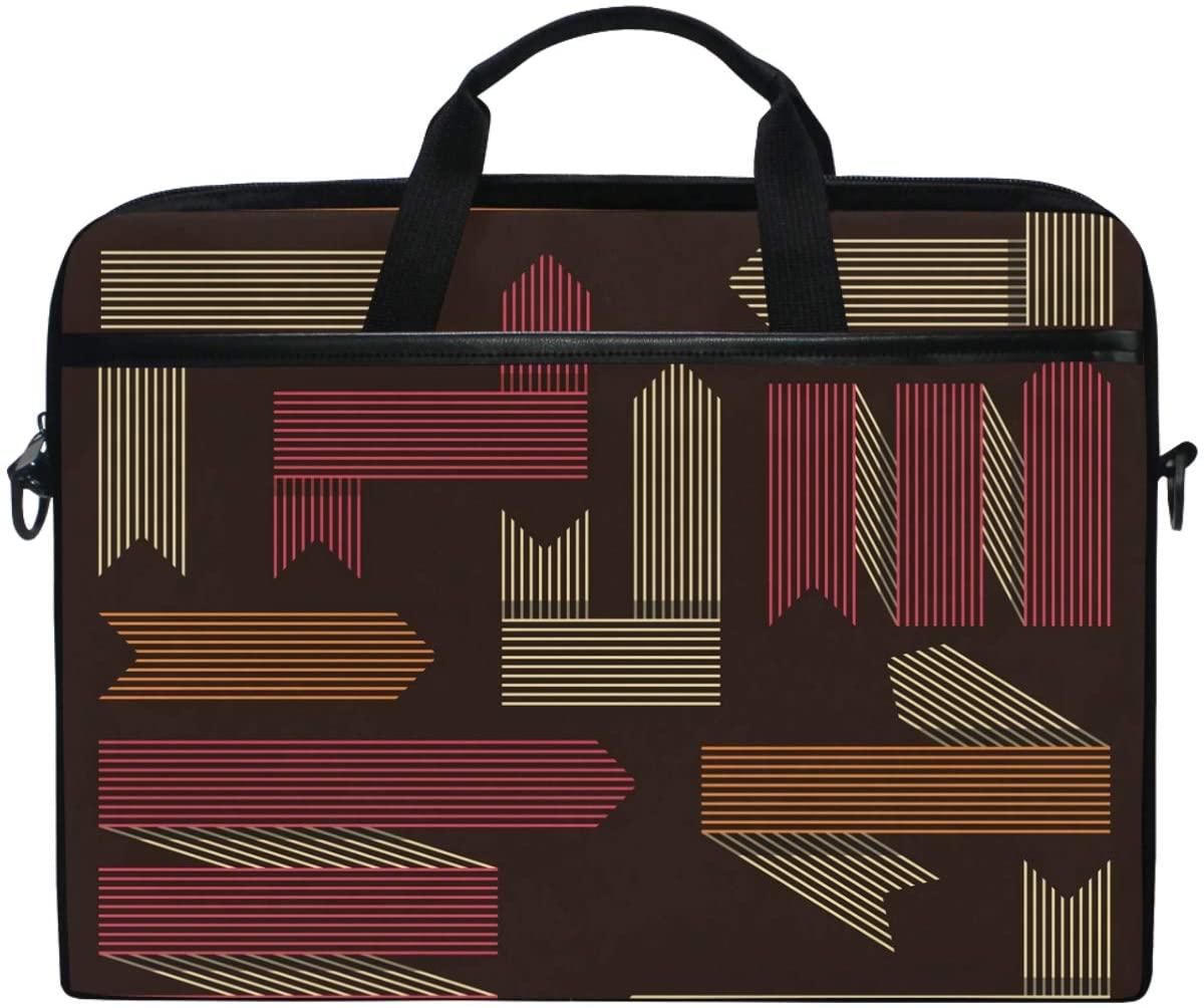 Kaariok Vintage Brown Stripe Line Laptop Shoulder Bag 13-14.5 Inch Sleeve Case Messenger Tablet Carring Briefcase with Handle Strap for Men Women Boys Girls