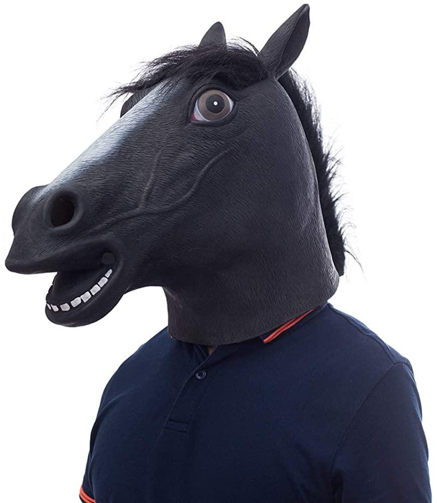 Waylike Horse Mask Horse Head Halloween Mask Rubber Animal Mask for Horse Costume