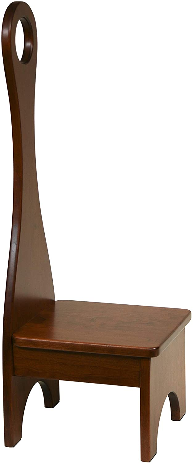 BCC Solid Hardwood Bench Step Stool with Handle: Handmade in The USA: for Kitchen, Bedroom or Bathroom (Cherry, Michael's Cherry)