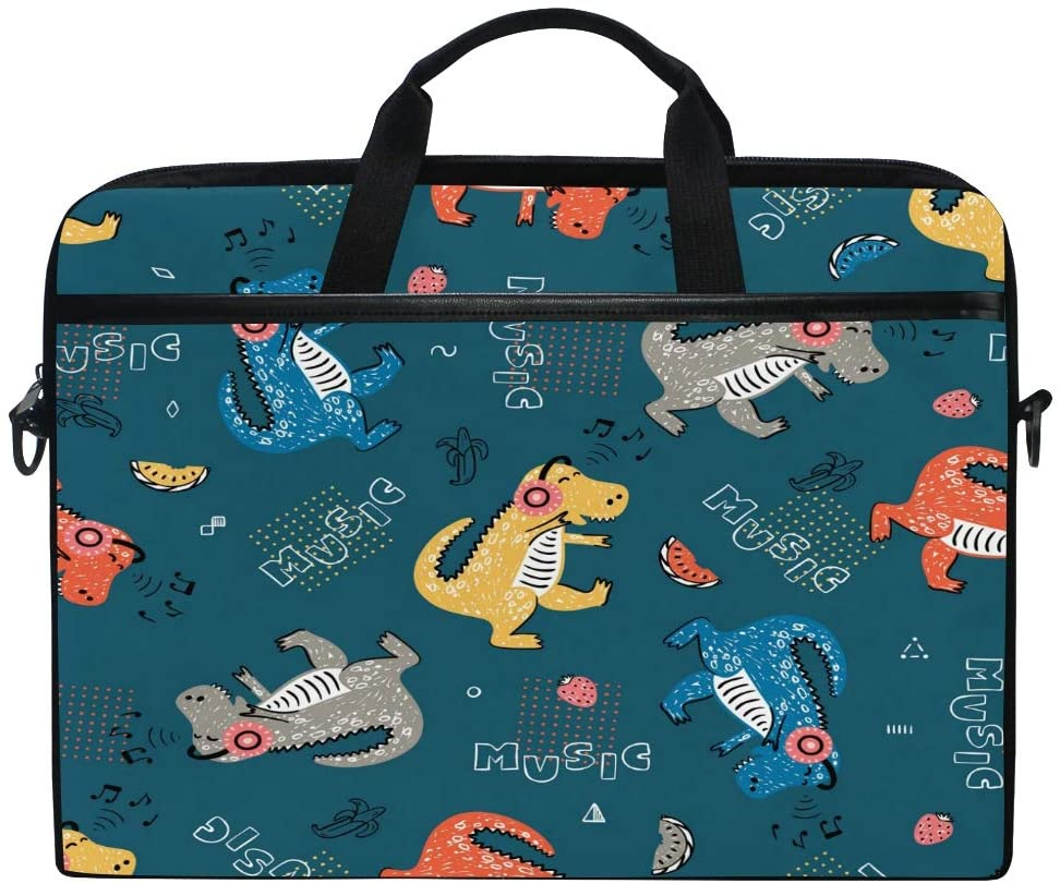 ALAZA Fashionable Cartoon Animal Dinosaur Music Lover 15 inch Laptop Case Shoulder Bag Crossbody Briefcase for Women Men Girls Boys with Shoulder Strap Handle, Back to School Gifts