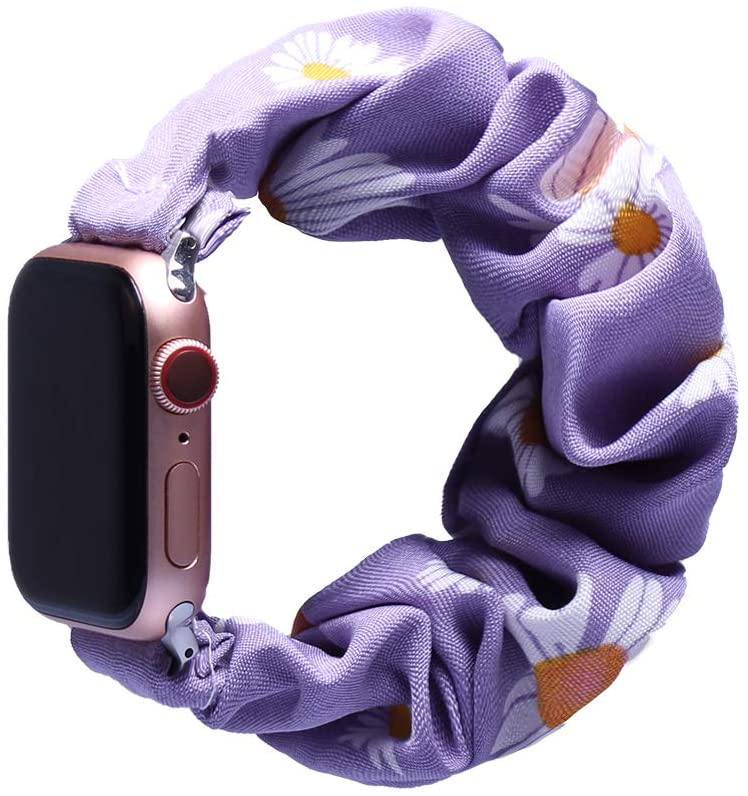 AKEBD Band Scrunchie Compatible with Apple Watch Series 1/2/3/4/5 38mm42mm,Flower Pattern Wristband Bracelet Women Hair Band Strap Replacement Iwatch Band (2.Light Purple-Flower, 42mm/44mm)