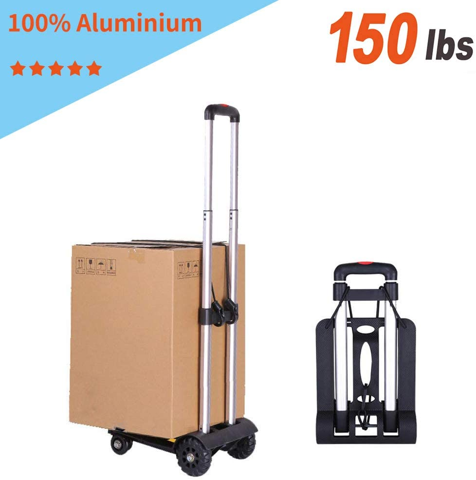 Folding Luggage cart, Sanoto Portable Lightweight Hand Cart Dolly with 4 Wheels for Baggage, Boxes Carrier, 150 lbs Utility Cart for Home and Office Travel Use(Black)