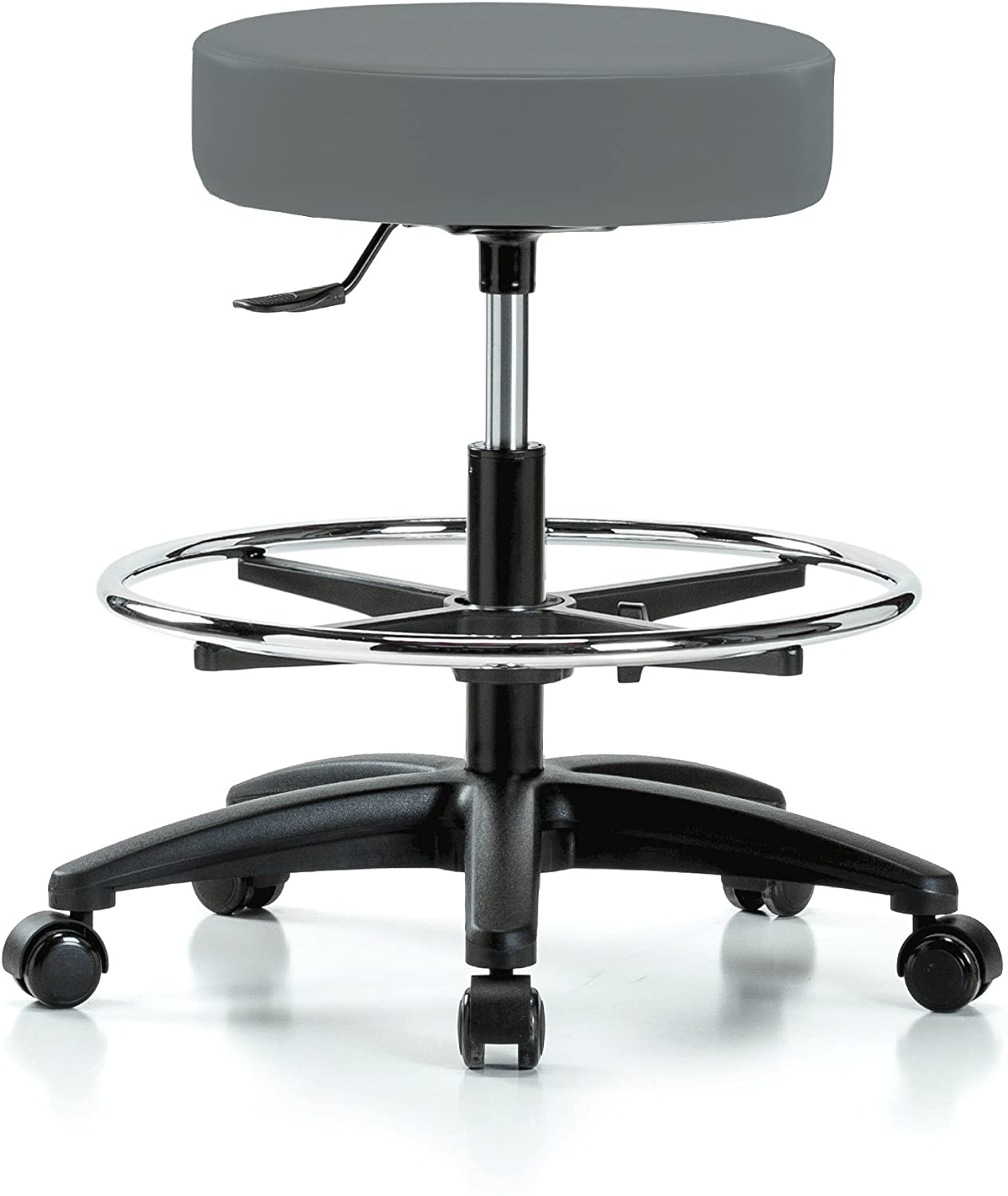 Perch Rolling Single Lever Height Adjustable Swivel Stool with Foot Ring for Hardwood or Tile Floors, Workbench Height, Cinder Fabric