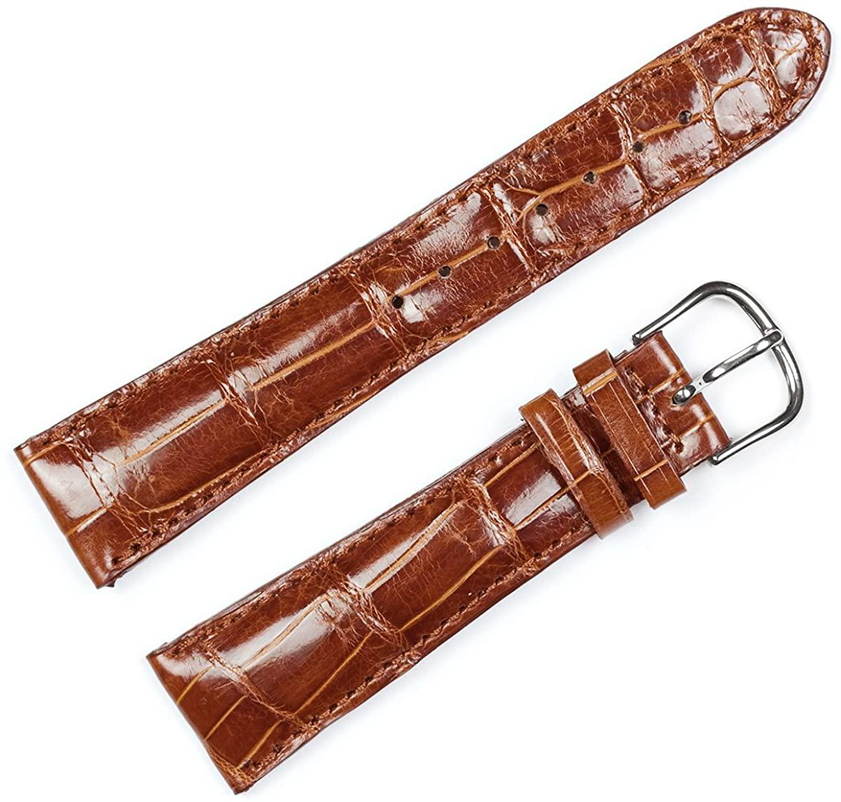 Replacement Leather Watch Band - Genuine Alligator Chrono Havana - 24mm