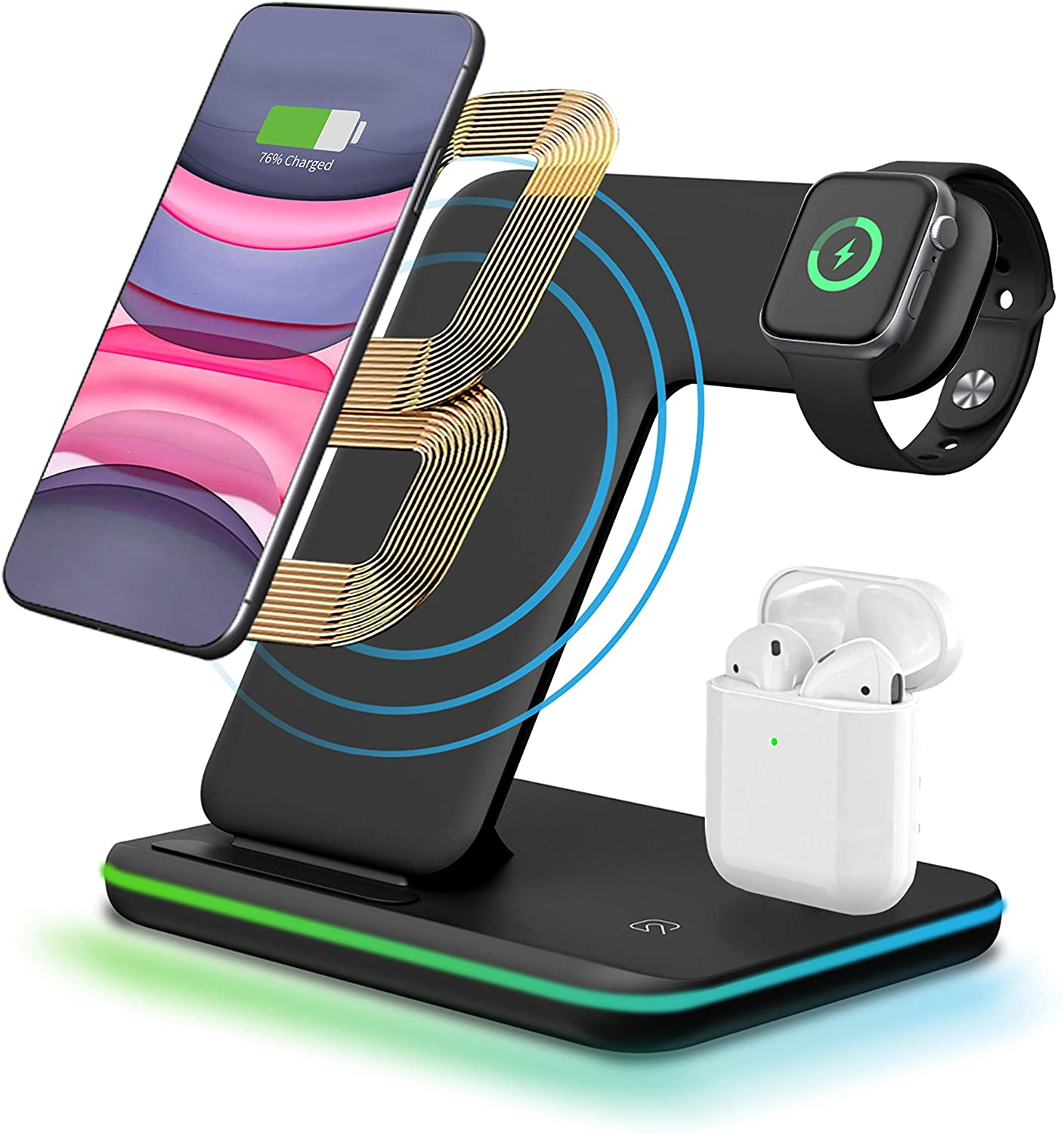 3 in 1 Wireless Charger Stand,CNSL Wireless 15W QI Fast Charging Station,Watch & Earphones Charger Dock with LED Light,Compatible with Airpods iWatch 1/2/3/4,iPhone 8/X/XR,Samsung S10/S9,etc.(Black)