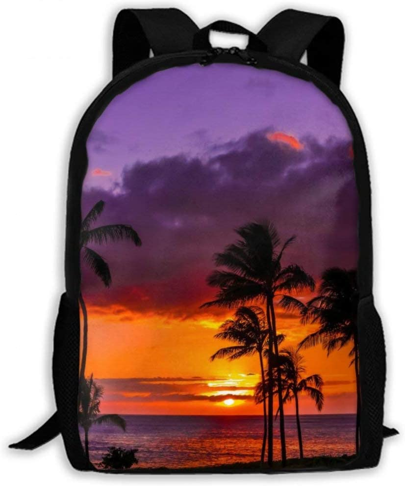 NiYoung Men Women Big Capacity Business Water Resistant Laptops Backpack, Boys Girls College School Bookbag, Travel Computer Bag for 15.6 Inch Laptops (Newport Beach Sunset Coconut Tree Red Purple)