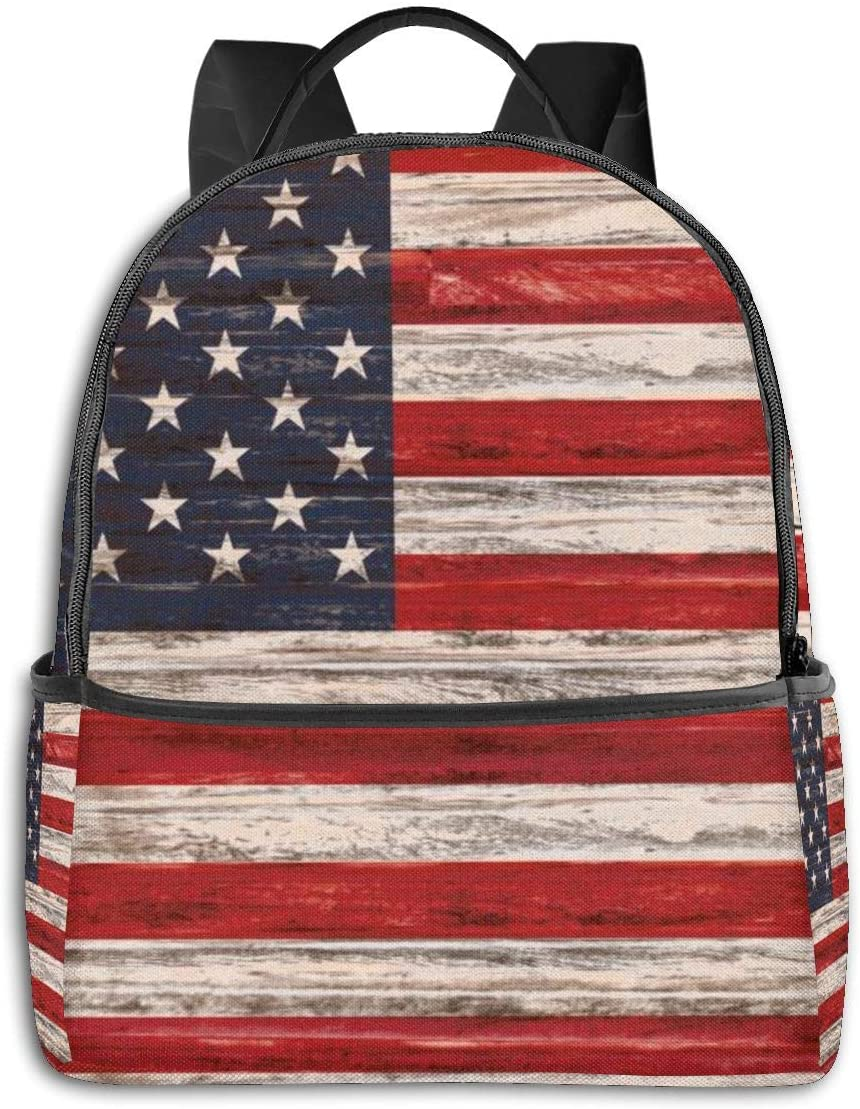 Dujiea Vintage Wooden American Flag Kids Backpacks for School Rucksack Cute Bookbag for Laptop, Men Casual Outdoor Daypack Travel Backpack for Kids 1th- 6th Grade Girls Boys College Unisex Adults
