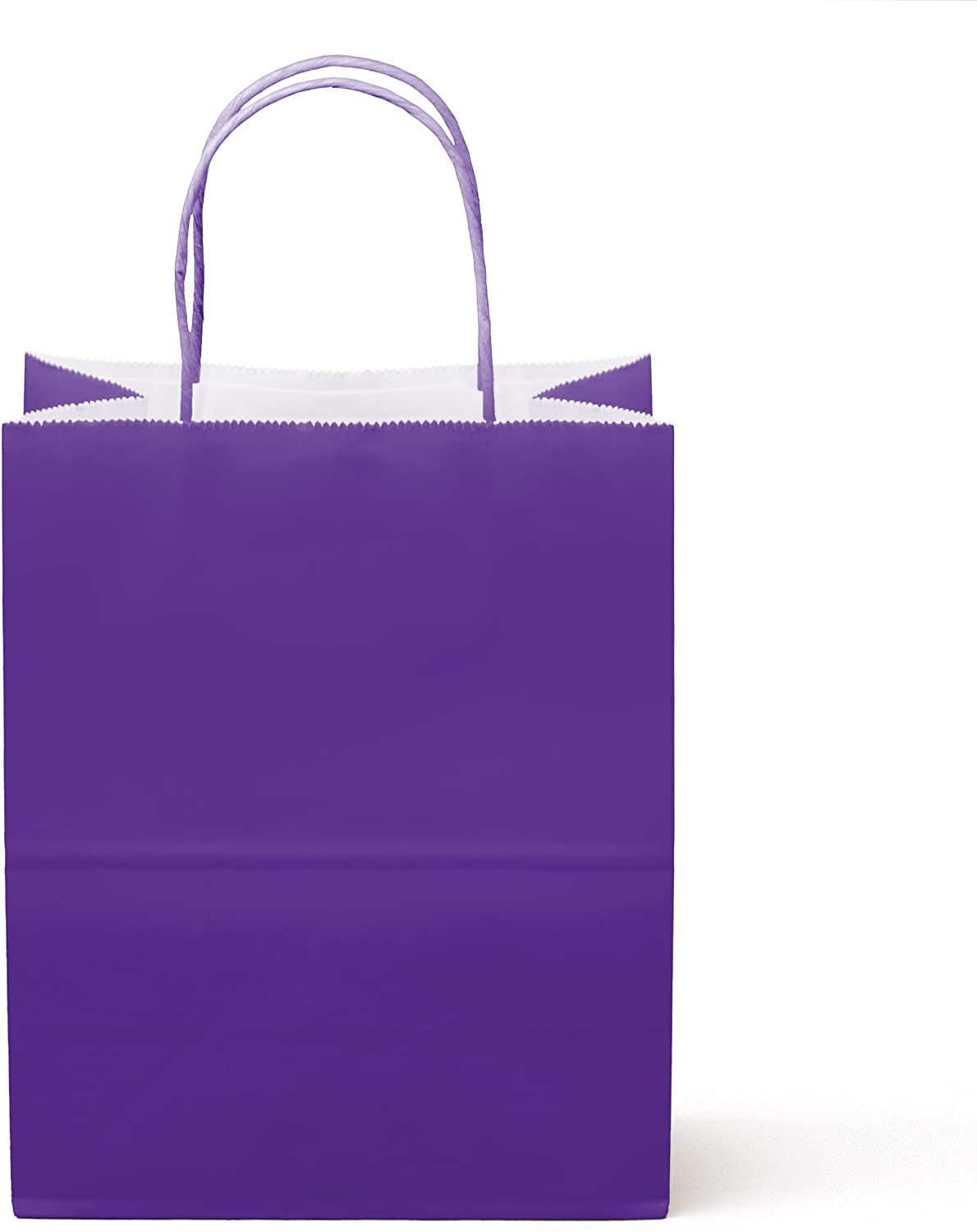 """24 Counts Food Safe Premium Paper and Ink Medium 10"""" X 8"""", Vivid Colored Kraft Bag with Colored Sturdy Handle, Perfect for Goodie Favor DIY Bag, Environmentally Safe (Medium, Purple)"""