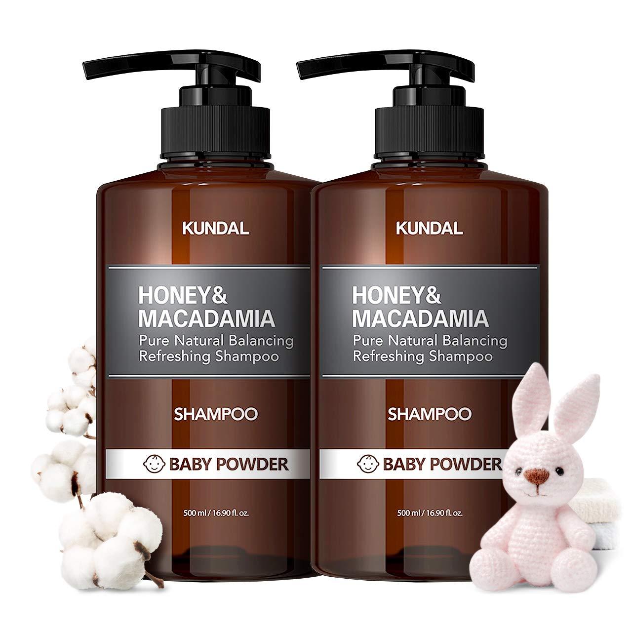 KUNDAL HONEY & MACADAMIA Natural Shampoo (Baby Powder) - 16.9 fl.oz(500ml) x2 bottles, Sulfate Free Paraben Free