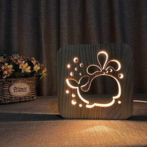 Creative 3D Whale Wooden Desk Lamp, LED Table Light with USB Power Cartton Nightlight Home Bedroom Decor Lamp, Gift for Kids Children Adult Bedroom Living Room Nightstand