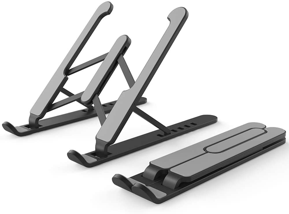 Jusy Laptop Stand Portable Foldable & Multi-Angle Adjustable Tablet Holder Compatible of MacBook Pro/Air, HP, Acer, Asus, Sony, Dell, Surface, More 10-15.6 inches PC Computer, Tablet, iPad- Black