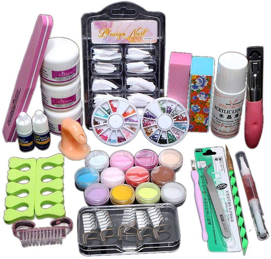 Tamquer Acryic Powder Nail Art Decorations Kit Brush Cuticle Revitalizer Oil Pen Tools Shiny Glitter Nail Art Decoration Tips Salon Kit
