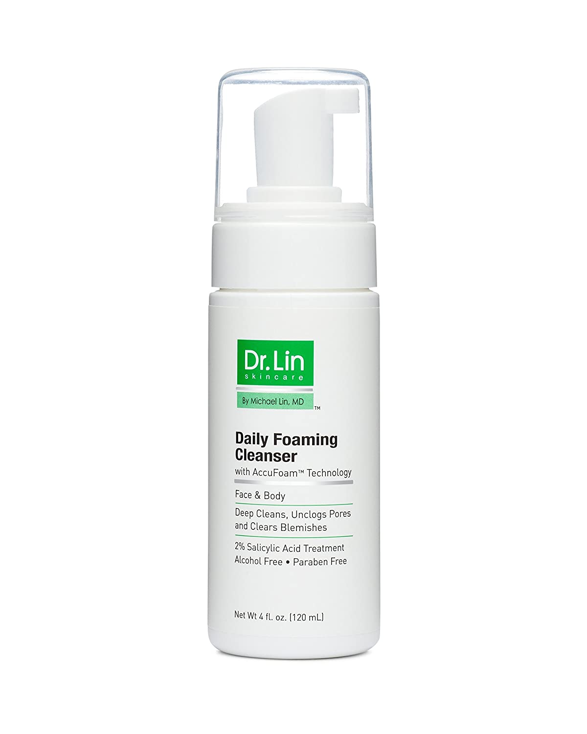 Dr. Lin Skincare Daily Foaming Cleanser - Clears & Prevents Breakouts, Evens Skin Tone & Reduces Acne Scars - Clinical Strength Facial Wash with 2% Salicylic Acid - Formulated by a Dermatologist
