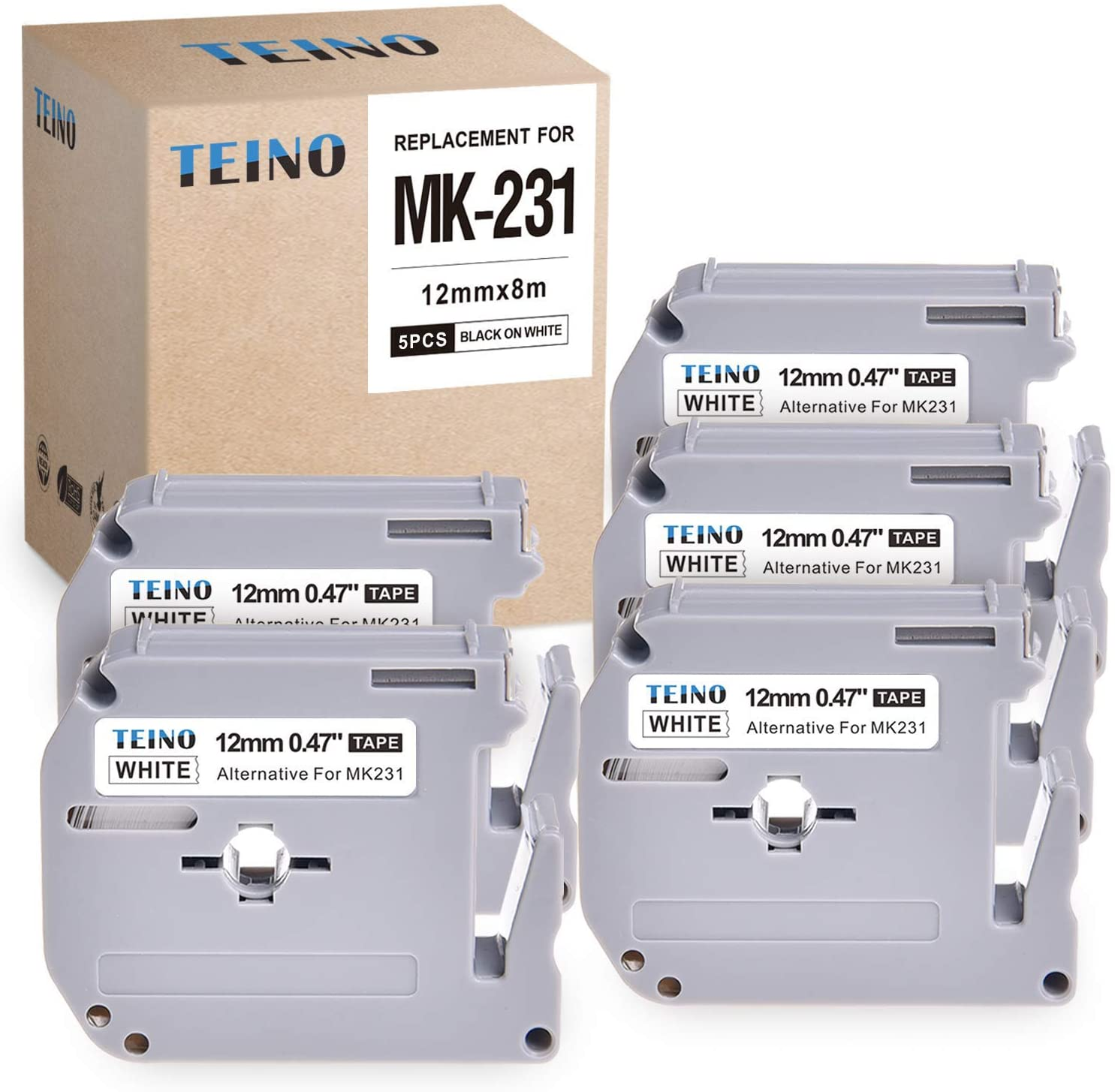 TEINO Compatible with M231 MK231 M-K231 Black on White Label Tape Cartridge Use with P-Touch Label Maker PT-90 PT-M95 PTM95M PT-70SR PT-70BM PT-80 PT-65,0.47 Inch(12mm) x26.2 Feet(8m), 5-Pack