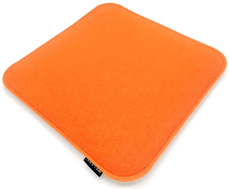 Welaxy Felt seat Cushion Minimalist for Eames Chair DSW Pads for Office Indoor Home Dining Kitchen (White + Orange)