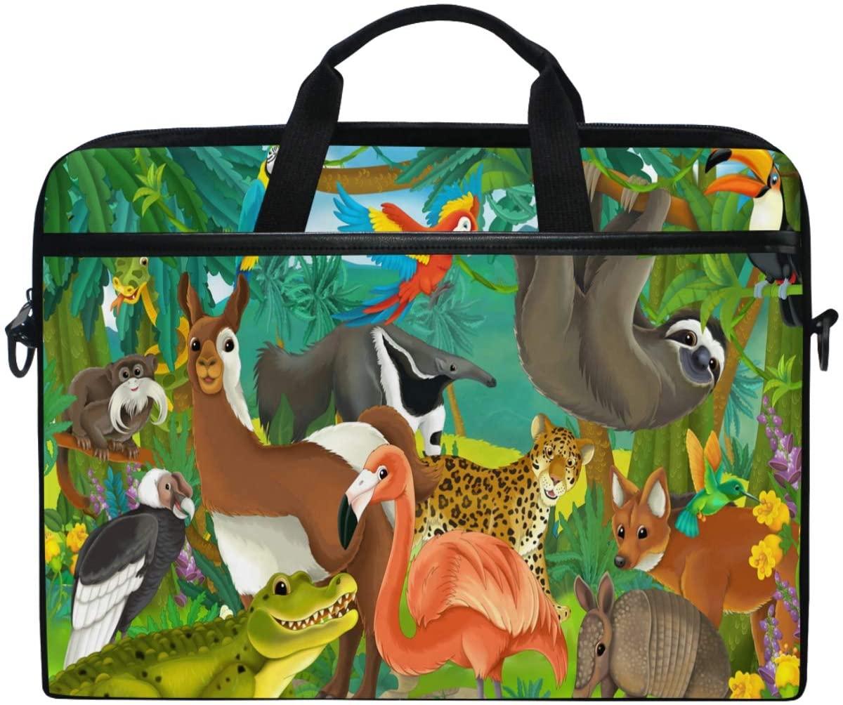 Kaariok Tropical Animal Painting Kangaroo Leopard Flamingo Sloth Laptop Shoulder Bag 13-14.5 Inch Sleeve Case Messenger Tablet Carring Briefcase with Handle Strap for Men Women Boys Girls