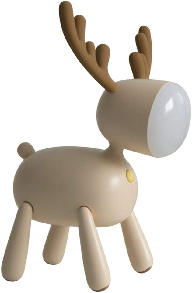 Fantasee Reindeer Table Desk Lamp Baby Nursery Night Light USB Rechargeable 2 Light Modes 30 Minutes Timer for Child Baby Students Birthday Gift (Mousse)