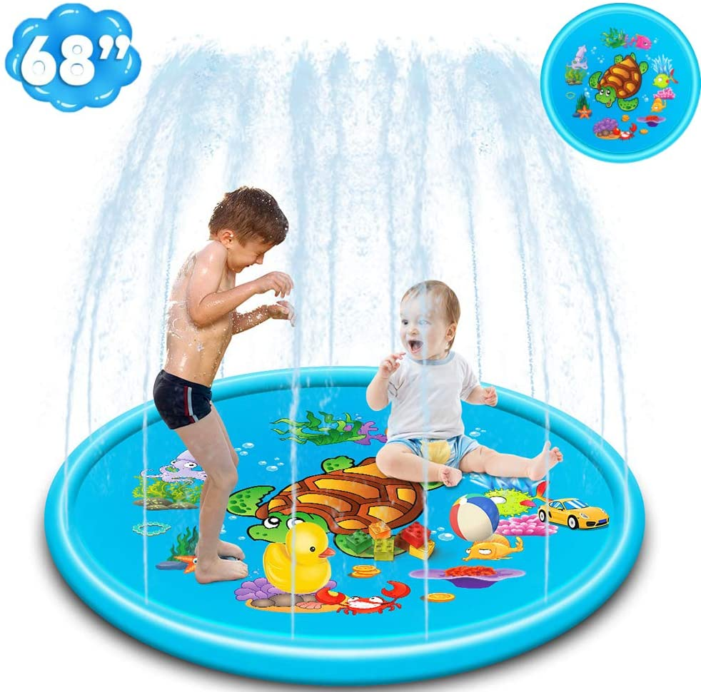 Sprinkler & Splash Pad for Kids, Toddlers, Baby.Blow Up Pool for Kids- 68''.Inflatable Swimming Pools for Kids Sprinkler Mat,Inflatable Play Mat Outdoor Toys for Boys and Girls Age 3-5