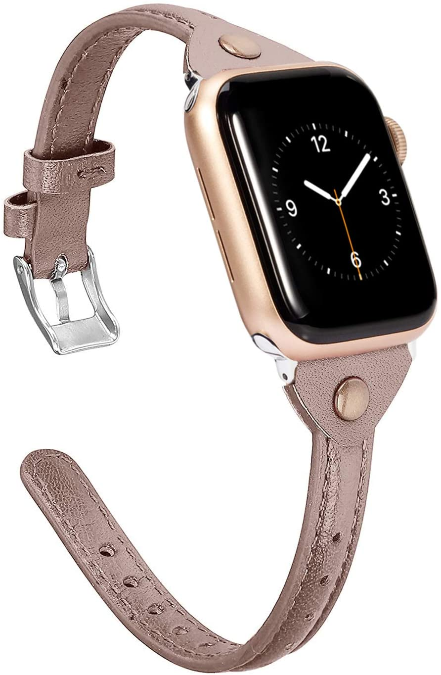 Wearlizer Thin Leather Compatible with Apple Watch Bands 38mm 40mm for iWatch Slim Strap Womens Mens Wristbands Leisure Narrow Tan Bracelet (Metal Silver Buckle) Series 5 4 3 2 1 Nike+ Edition Sports