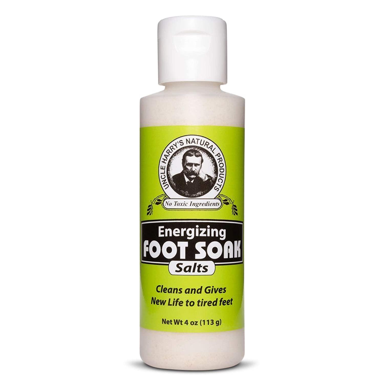 Uncle Harry's Natural Pedicure Foot Soak Bath Salts | Athletes Foot Detox & Dry Feet Treatment | Epsom Salts For Soaking Feet with Eucalyptus & Peppermint | Vegan Pedicure Supplies (4 oz)