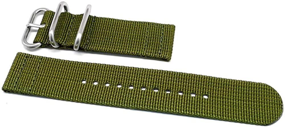 DaLuca Two Piece Ballistic Nylon Watch Strap - Olive : 26mm