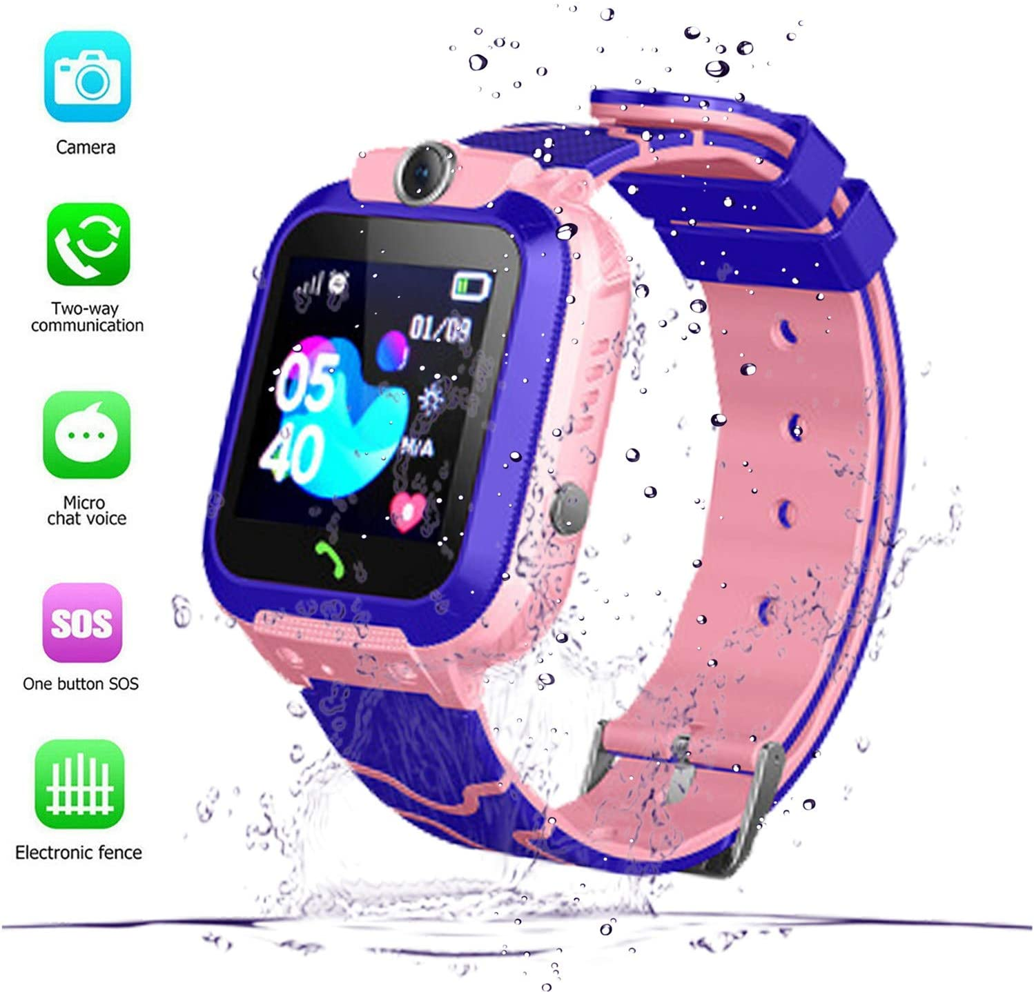 Kids Smart Watch GPS Tracker - Waterproof GPS Tracker Watch for Children Kids with SOS Call Camera Touch Screen Game Alarm for Boys and Girls (1-Waterproof Pink)