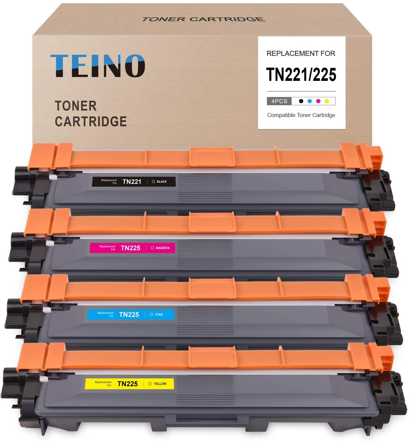 TEINO Compatible Toner Cartridge Replacement for Brother TN221 TN225 TN-225 TN-221 use with Brother HL-3140CW 3170CDW 3150CDW MFC-9130CW 9340CDW 9330CDW 9140CDN (Black Cyan Magenta Yellow, 4-Pack)