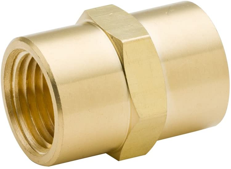 Vis Brass Pipe Fitting, Hex Head Coupling, 1/2